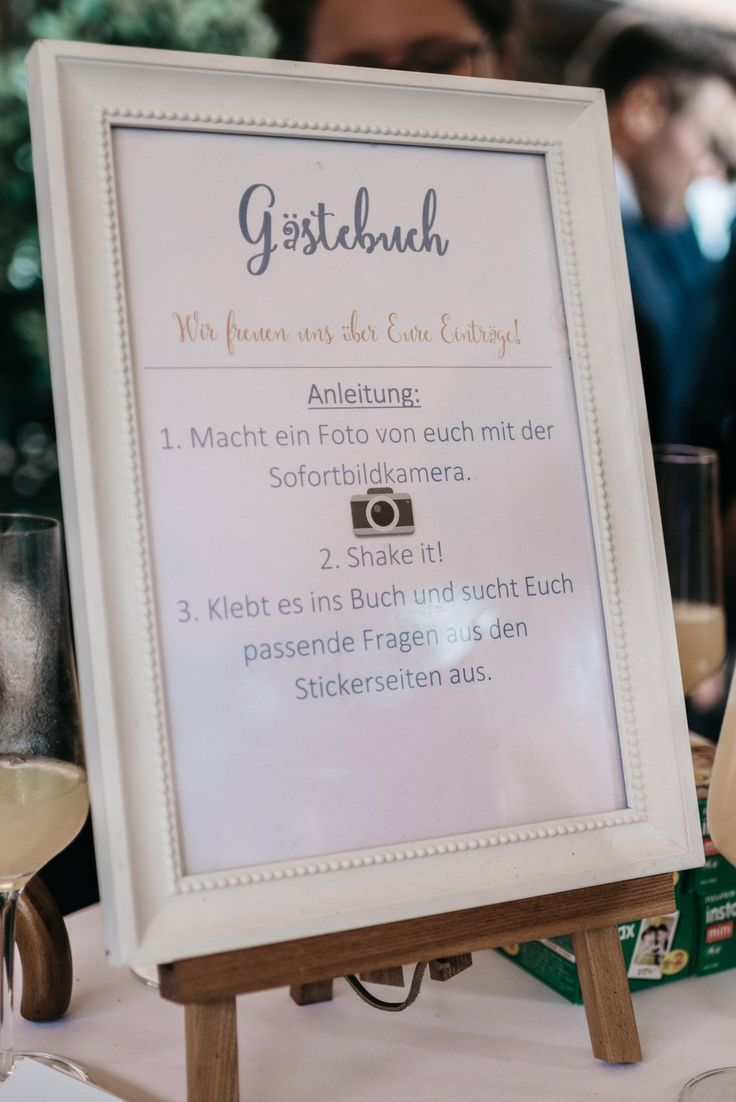 Instructions for the guest book for the wedding in the
