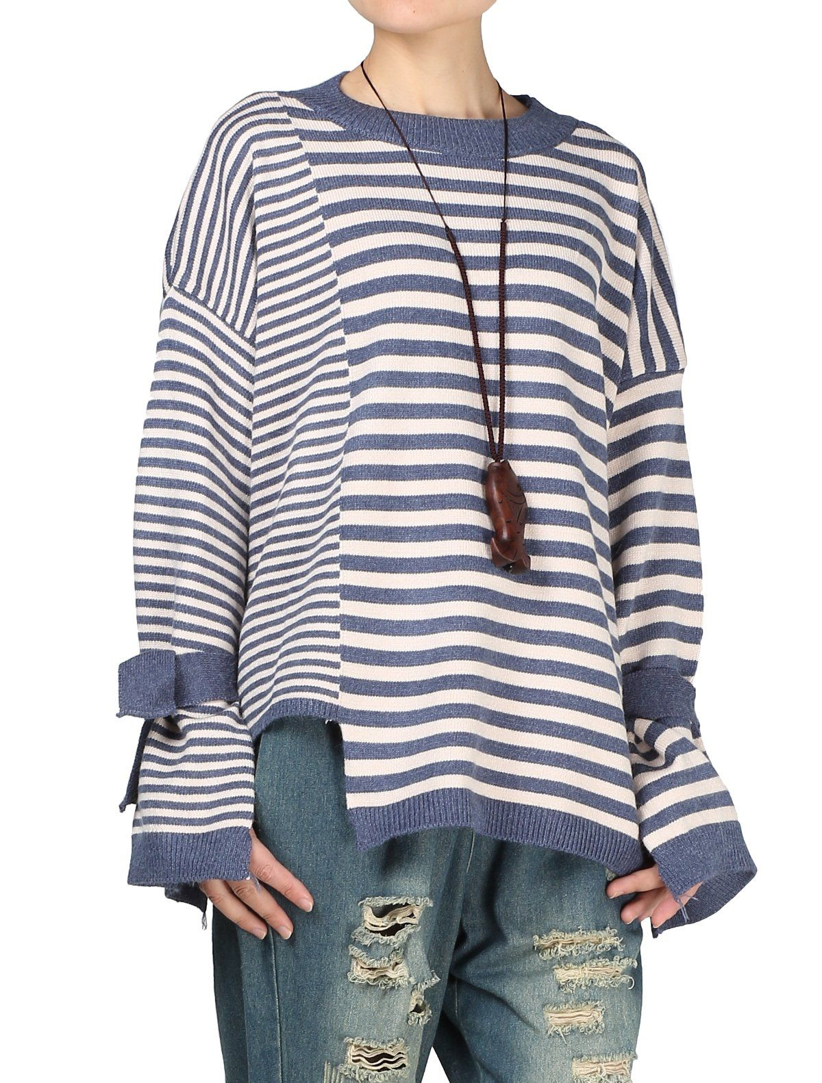 389b6ef7e Mordenmiss Womens New Stripes Loose Pullovers Sweater Blue    Visit ...
