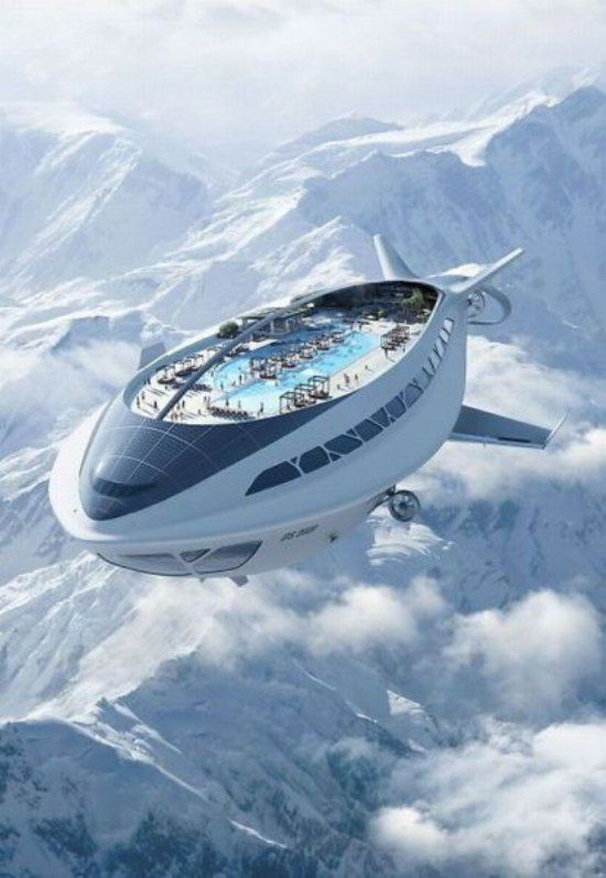 Modern Zeppelin, bigger, better, economical with solar-electric, faster with day & night rooms, cafe, skydeck, seats 1000 people in luxury. If only!