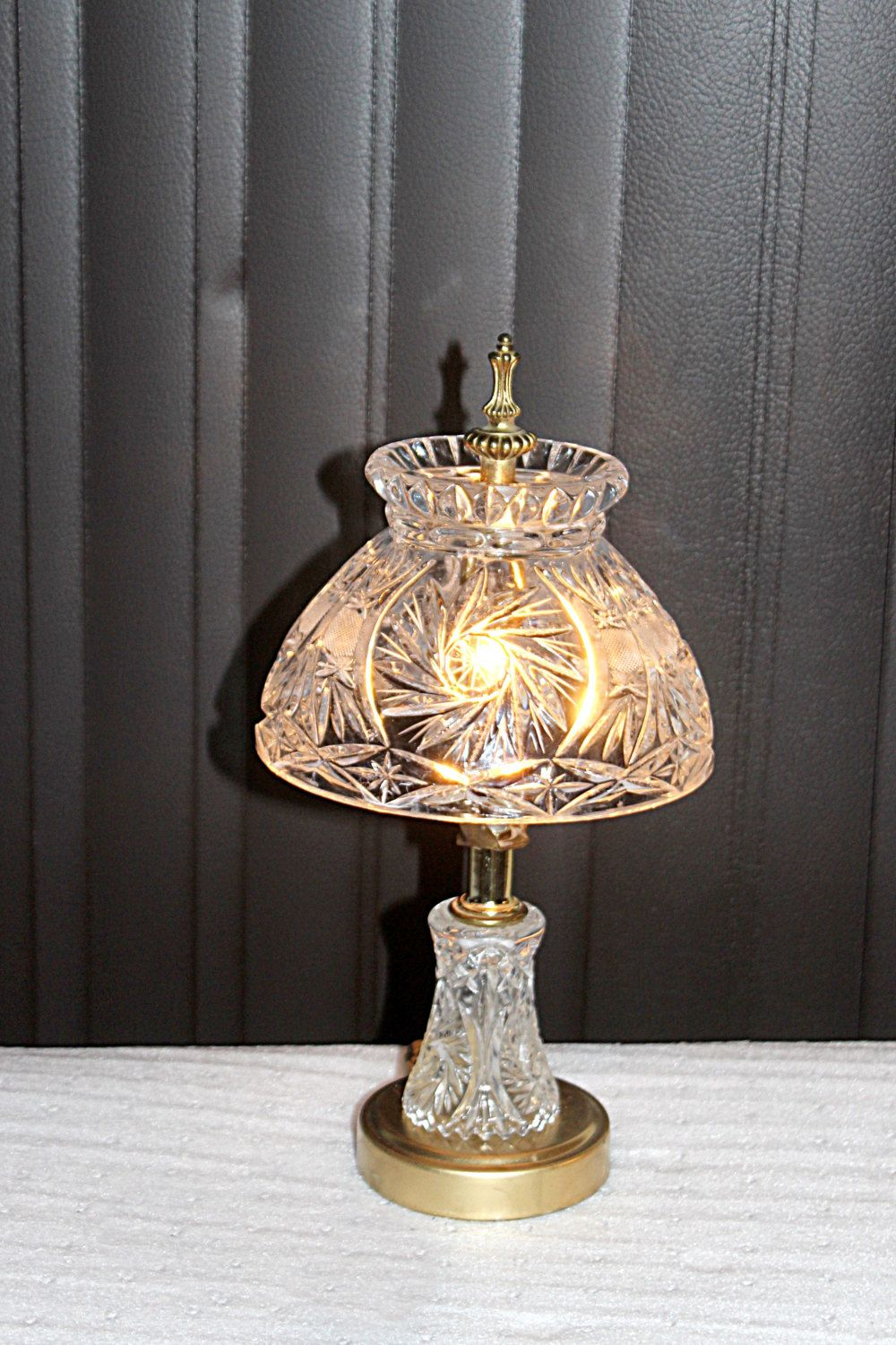 Antique Cut Crystal Bleikrystall Accent Table Lamp Pretty Tall Br Finial By Queenieseclectic On Etsy