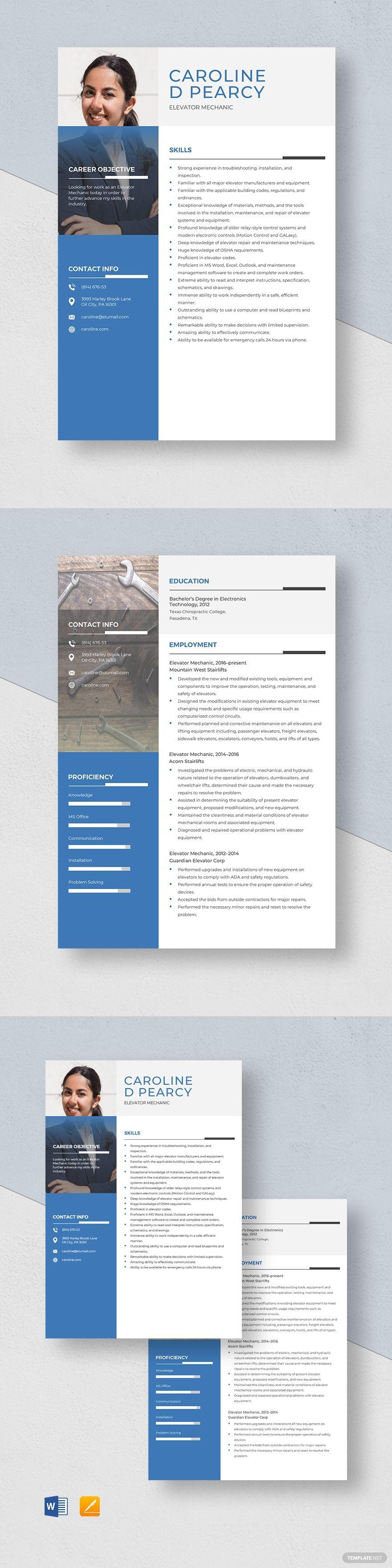 Elevator Mechanic Resume Template Ad Ad Mechanic Elevator Template Resume In 2020 Resume Template Website Template Design Resume