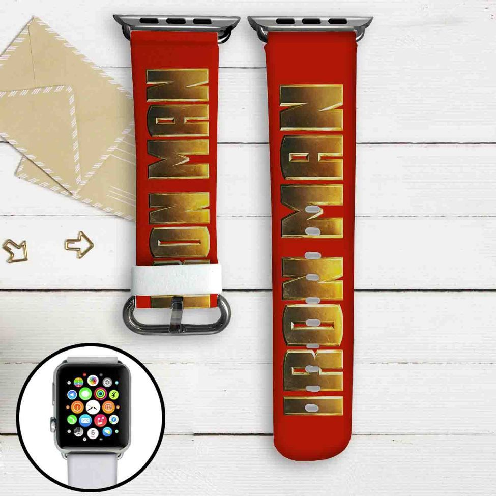 Iron Man Marvel Custom Apple Watch Band Leather Strap