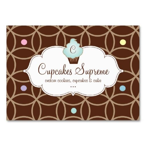 Cupcake Bakery Gift Certificate Stripes White Blue Business Card