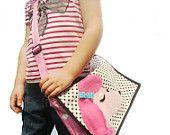 Girls Pink Poodle Messenger Bag, Childrens Pink Polka Dot Bag, Little Girls Paris Poodle Back to school Chalk Cloth Messenger Bag  I just love ETSY!