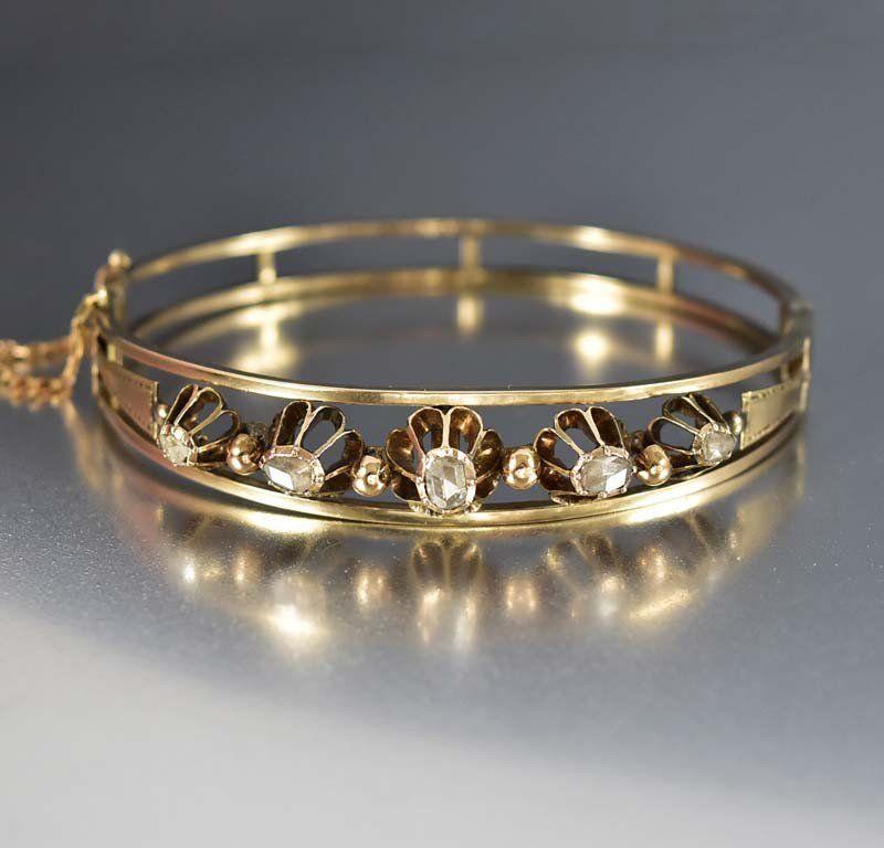 2d60a2b45a4 Antique Gold Rose Cut Diamond Bangle Bracelet