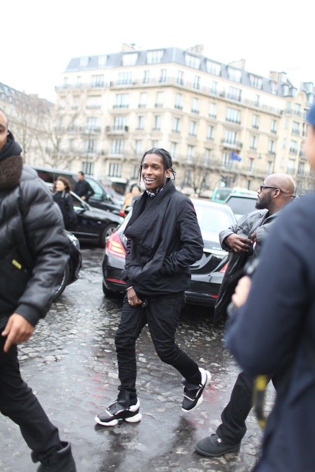 Asap Rocky Wears Rick Owens For Adidas Running Sneakers During Paris Fashion Week Upscalehype Mens Fashion Week Blvck Fashion Mens Fashion Week Street Style