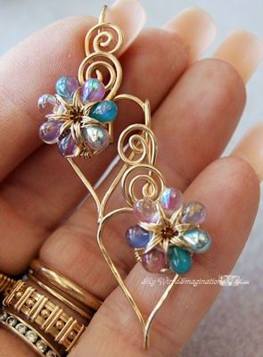 Love the gold wire ring she's wearing - NEW Jewelry Tutorial - Charming Hearts 2 Earrings