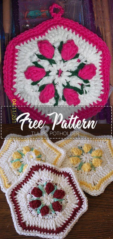 Tulips Potholder – Free Pattern #potholders