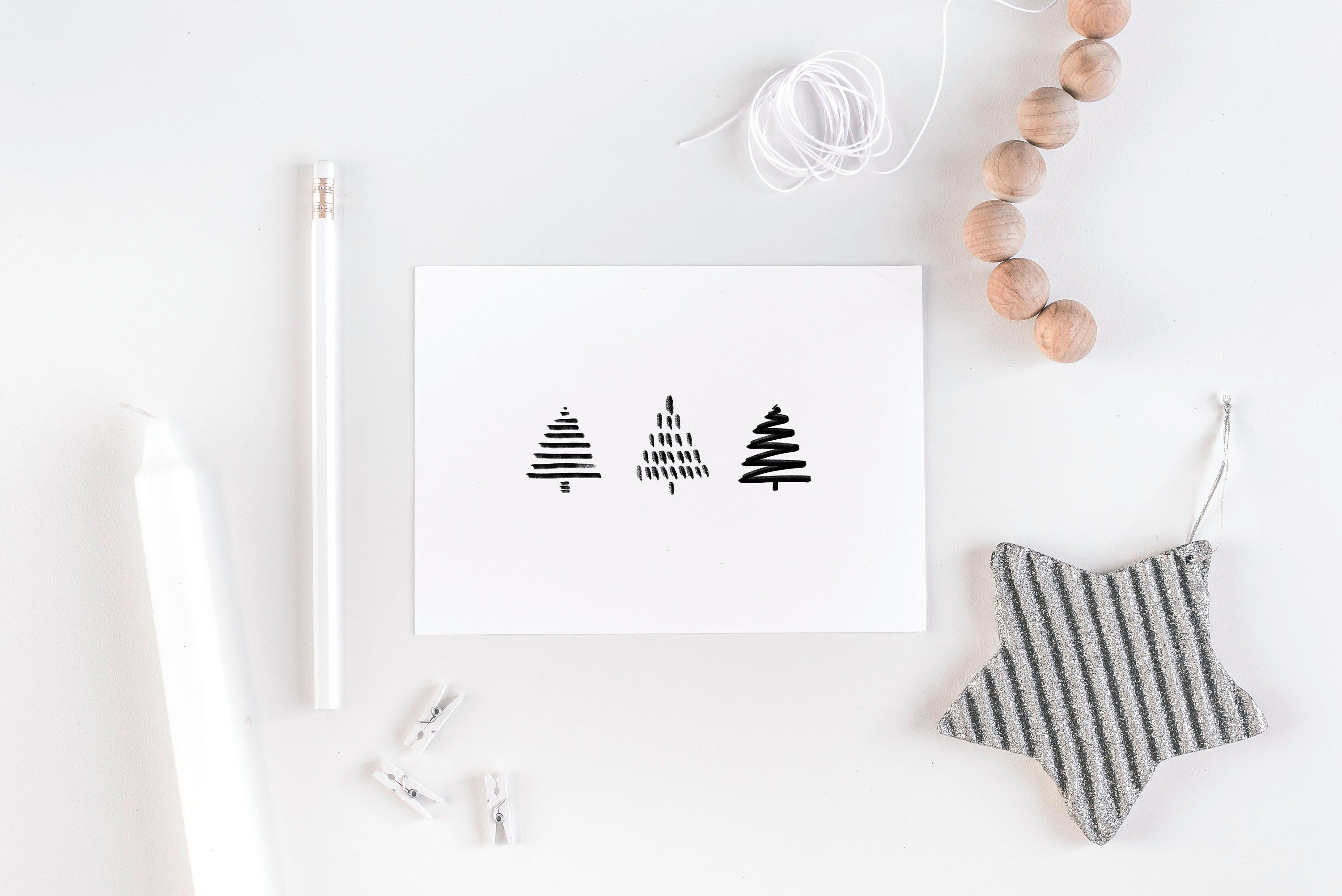 Fir trees - Christmas card A6 ! Christmas tree, hand painted, black and white, minimalist, nordic, Christmas, postcard, greeting card