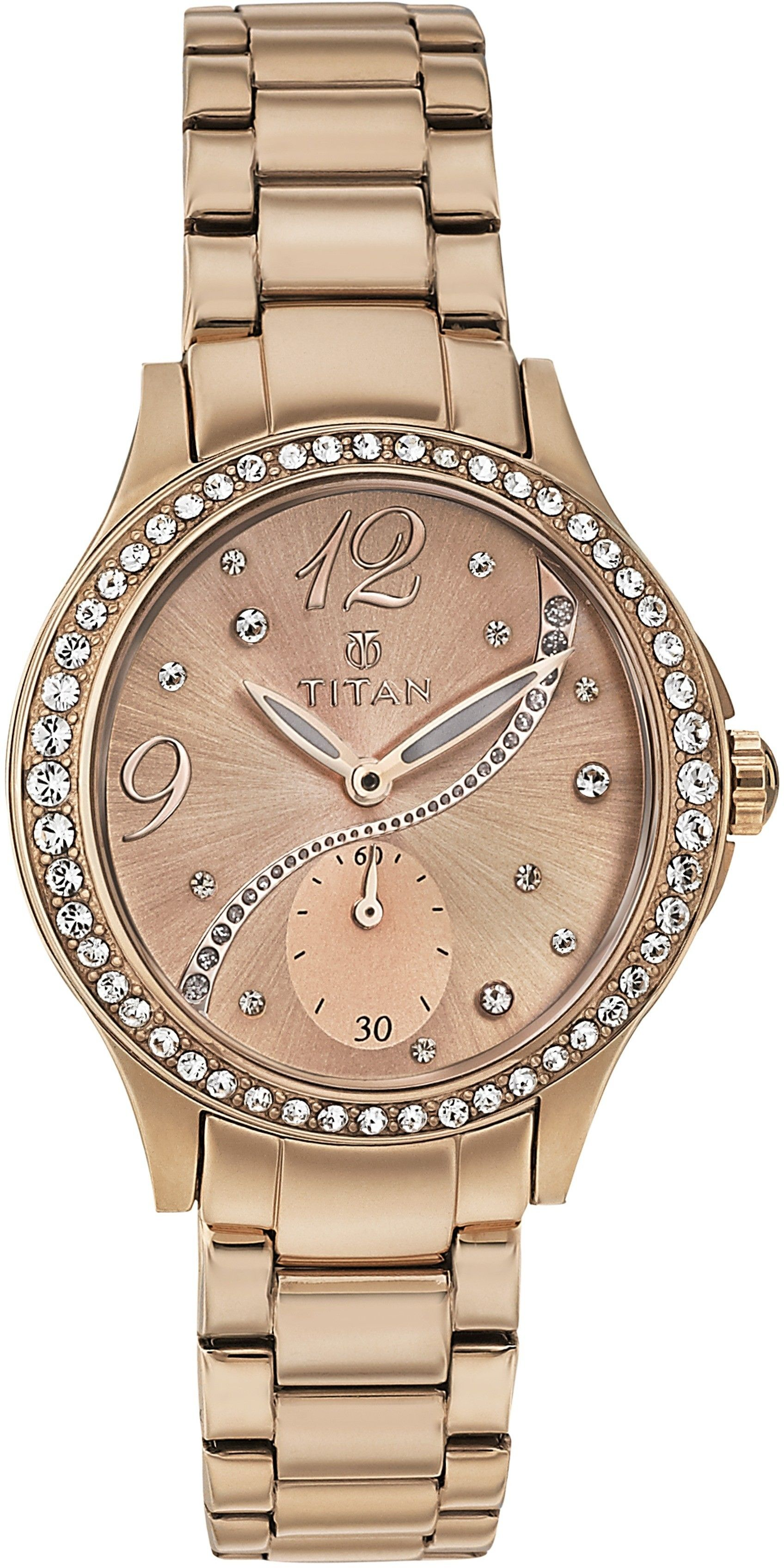 Titan Purple Collection Rose Gold Copper Dial Womens