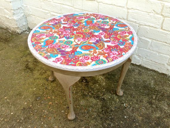 Upcycled Decoupaged Pink Floral Round Coffee Table by ...