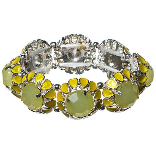 """Amazon.com: Designer Inspired Silver Tone Stretch Bracelet with 1"""" Pale Yellow Floral Design: Jewelry"""