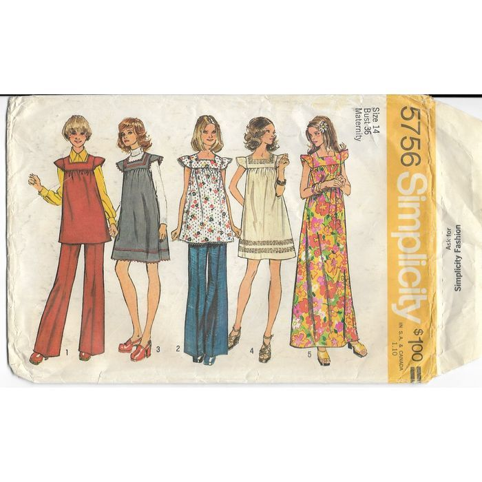 Simplicity 5756 Sewing Pattern Misses Maternity Dress Tunic Pants ...
