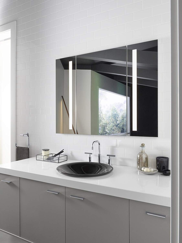 Kohler K 99011 Tl Na Verdera 40 Inch X 30 Inch Led Lighted Bathroom Medicine Cabinet Slow Close Hinge Internal Magnifying Mirror Aluminum Recess Or Surface Mo In 2020 Lighted Medicine Cabinet Bathroom Mirror