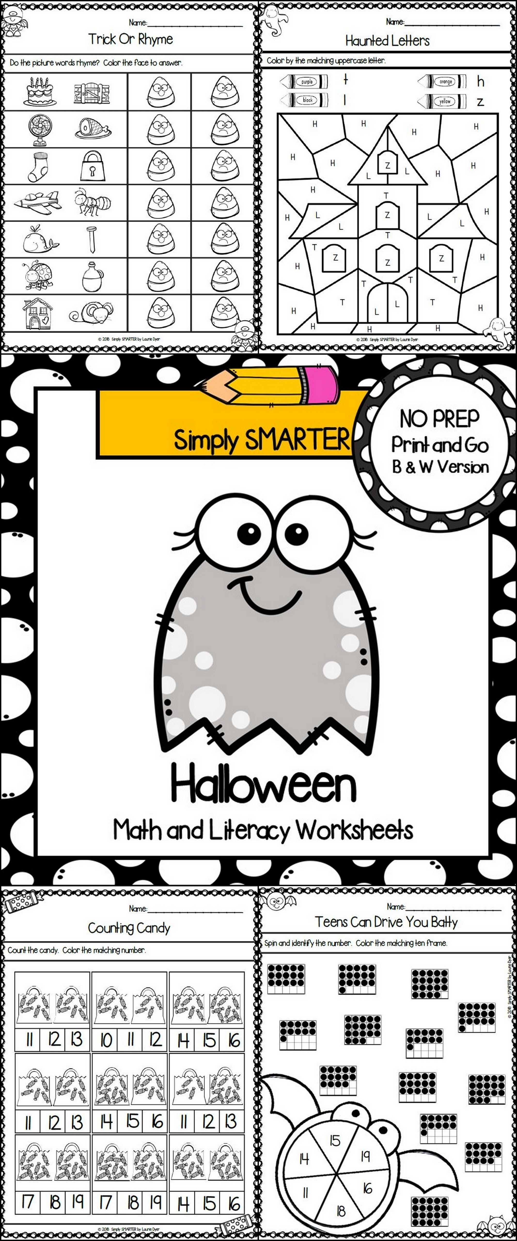 Halloween Themed Kindergarten Math And Literacy Worksheets