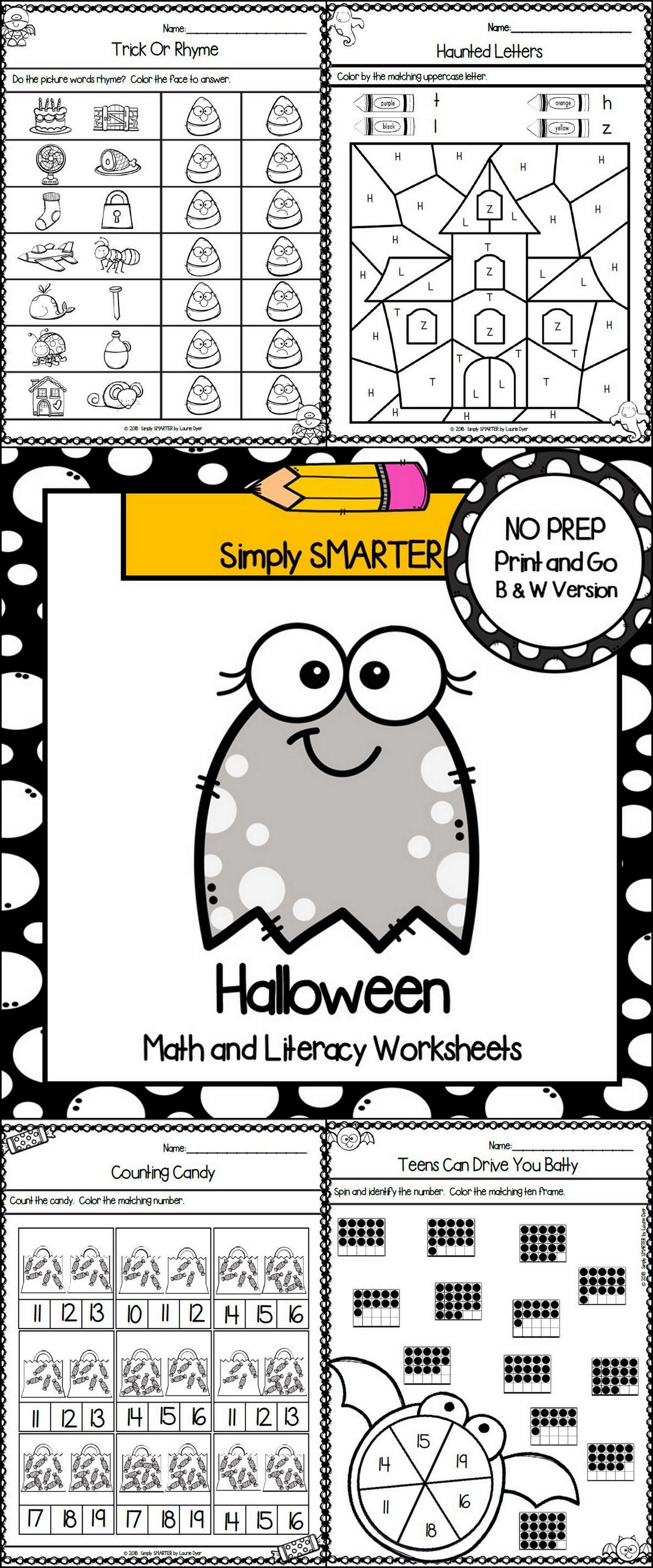 Halloween Themed Kindergarten Math And Literacy Worksheets
