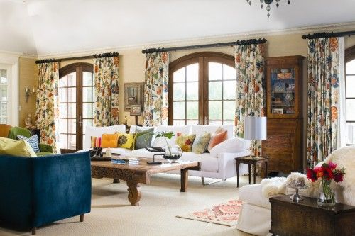 Wood Trim On Spanish Style Dome Windows And Colorful Curtains Hot House Flowers By Celerie Kemble Curtains Living Room Eclectic Living Room Family Living Rooms