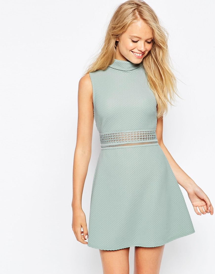 Image 1 of ASOS A line Dress in Texture with High Neck and Lace ...
