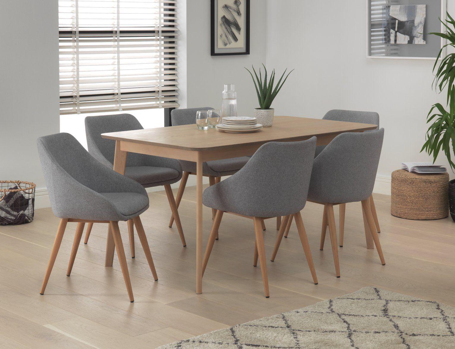 Buy Habitat Skandi Oak Veneer Dining Table & 9 Grey Chairs ...
