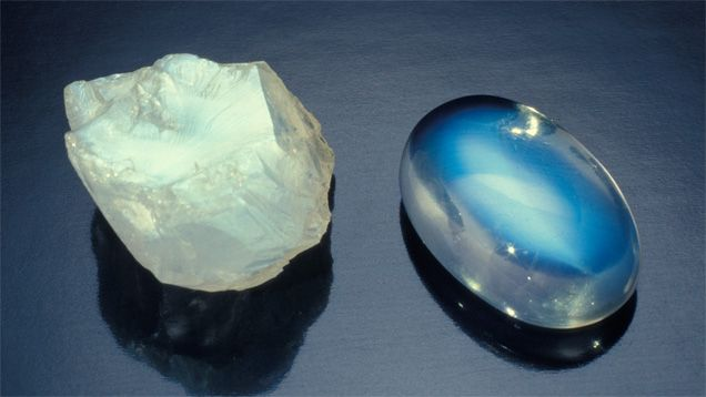 The beautiful shimmer of light that's characteristic of moonstone is apparent even in its rough form - David Humphrey. GIA (012314)