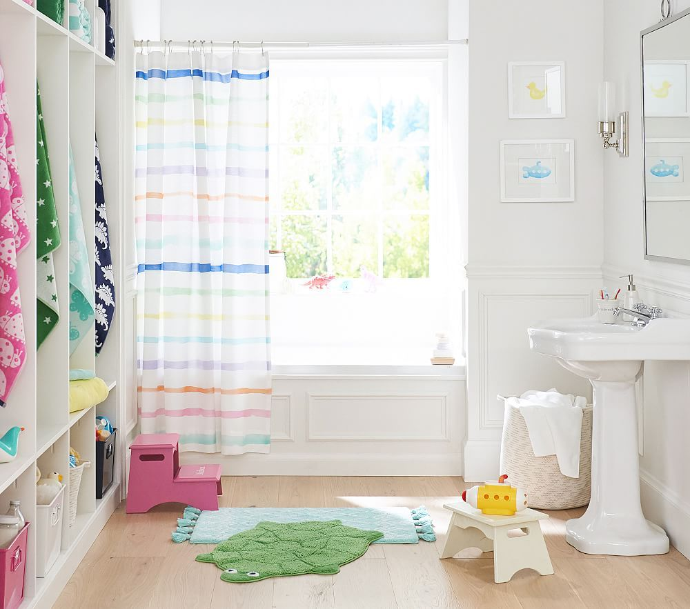 Rainbow Stripe Shower Curtain Kids Bathroom Design Striped