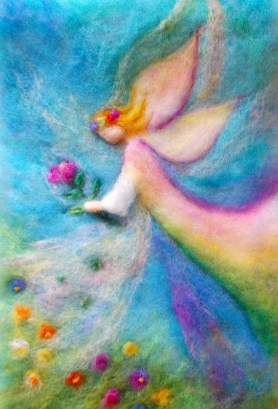 Filzen Bild Engel bunt  Filzen  Pinterest  Filzen Kinderbilder und Filz bilder
