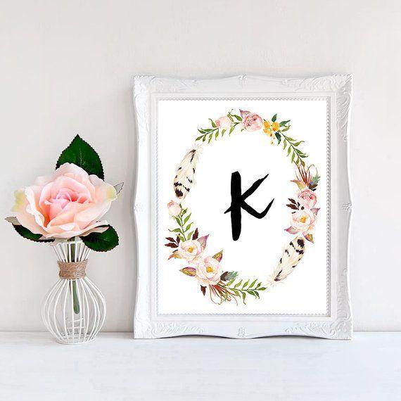 Printable Monogram Letter K Wall Art Boho Bedroom Decor Boho print