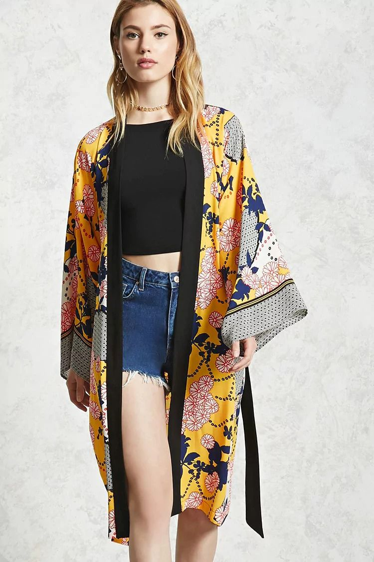 Forever 21 Contemporary A woven longline kimono featuring