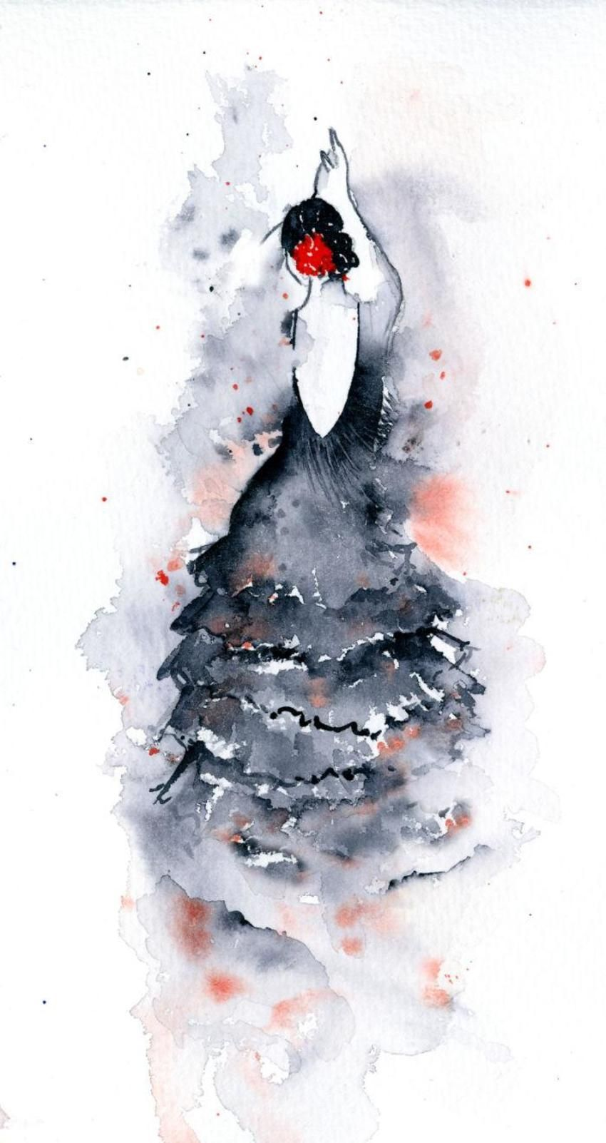 Flamenco 2 Aquarelle Danseuse De Flamenco Et Illustration D