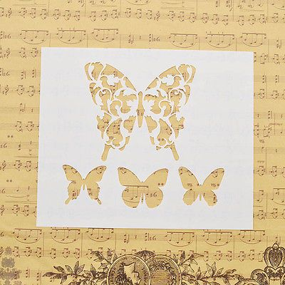 Stencils Drawing Scrapbook DIY Spray Painted Butterfly Template Wall ...