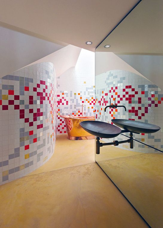 pixelated tiles to reuse old bathroom tiles mixed with white and grey - Pixelated Interior Design