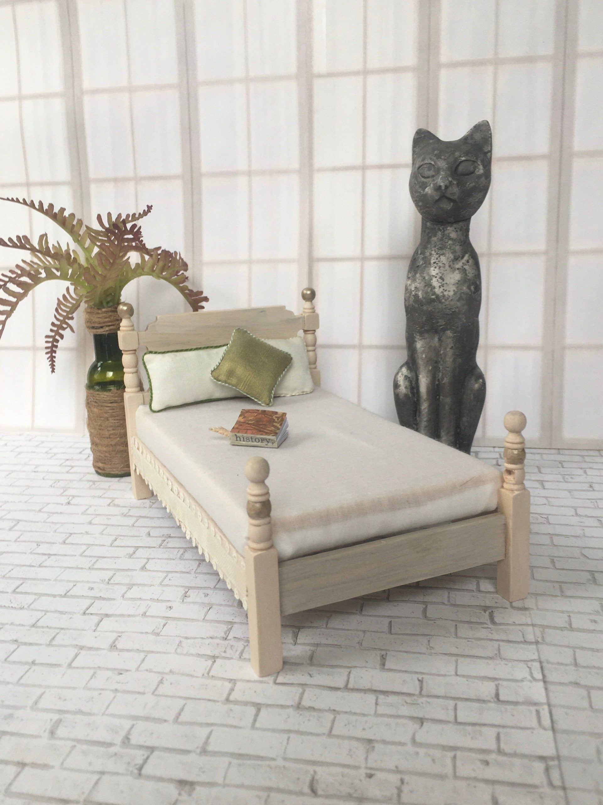 Island Cottage Vintage Wood Twin Bed Frame And Mattress Set Dollhouse Miniature Or Diorama 1 12 Scale Bed Co Bed Frame Mattress Wood Twin Bed Twin Bed Frame Twin bed frame and mattress set