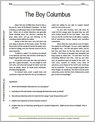 The Boy Christopher Columbus Printable Reading With Questions