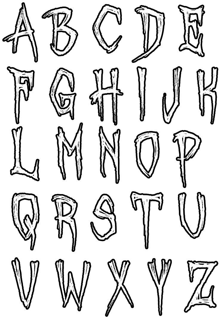Simple Alphabet Coloring Pages Art In 2019 Graffiti