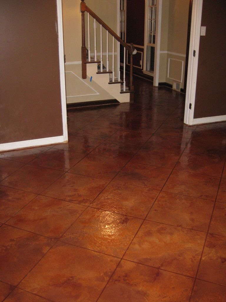 Acid Stained Concrete I Like This Idea No More Grout