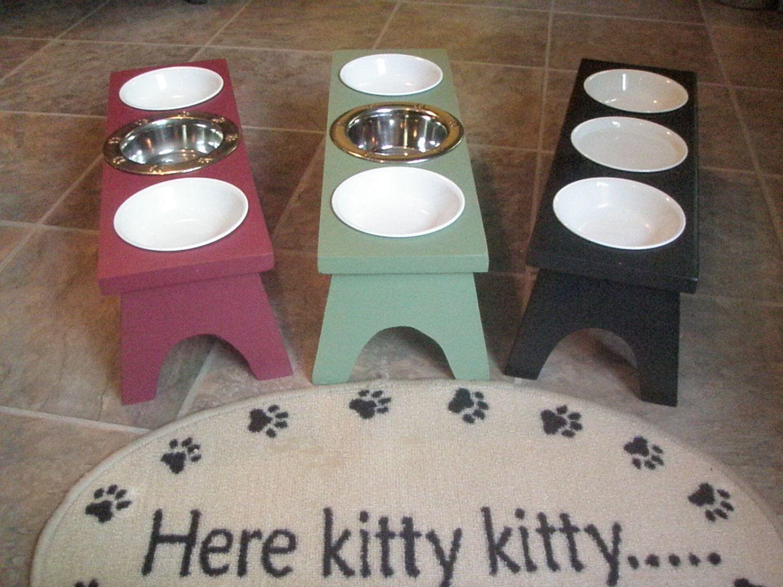 Elevated Cat Feeding Station 3 Bowl 4500 via Etsy Cats