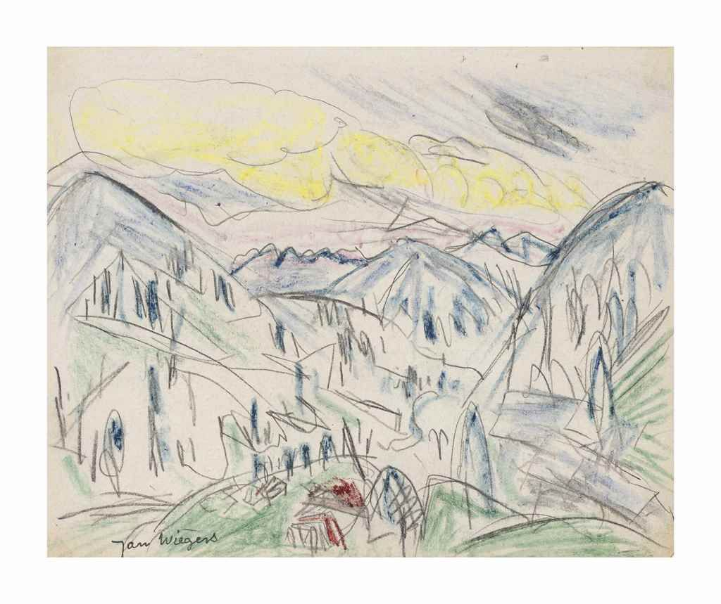Jan Wiegers (1893-1959) | Swiss mountain landscape (recto); Portrait of a boy (verso) | 20th Century, 1920s Executed circa 1920 | Christie's