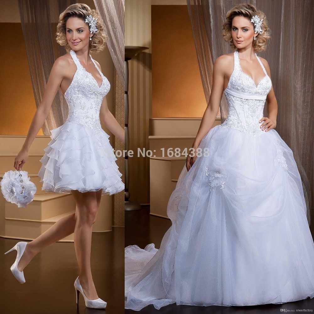 Ball gown wedding dresses with detachable train wedding dress