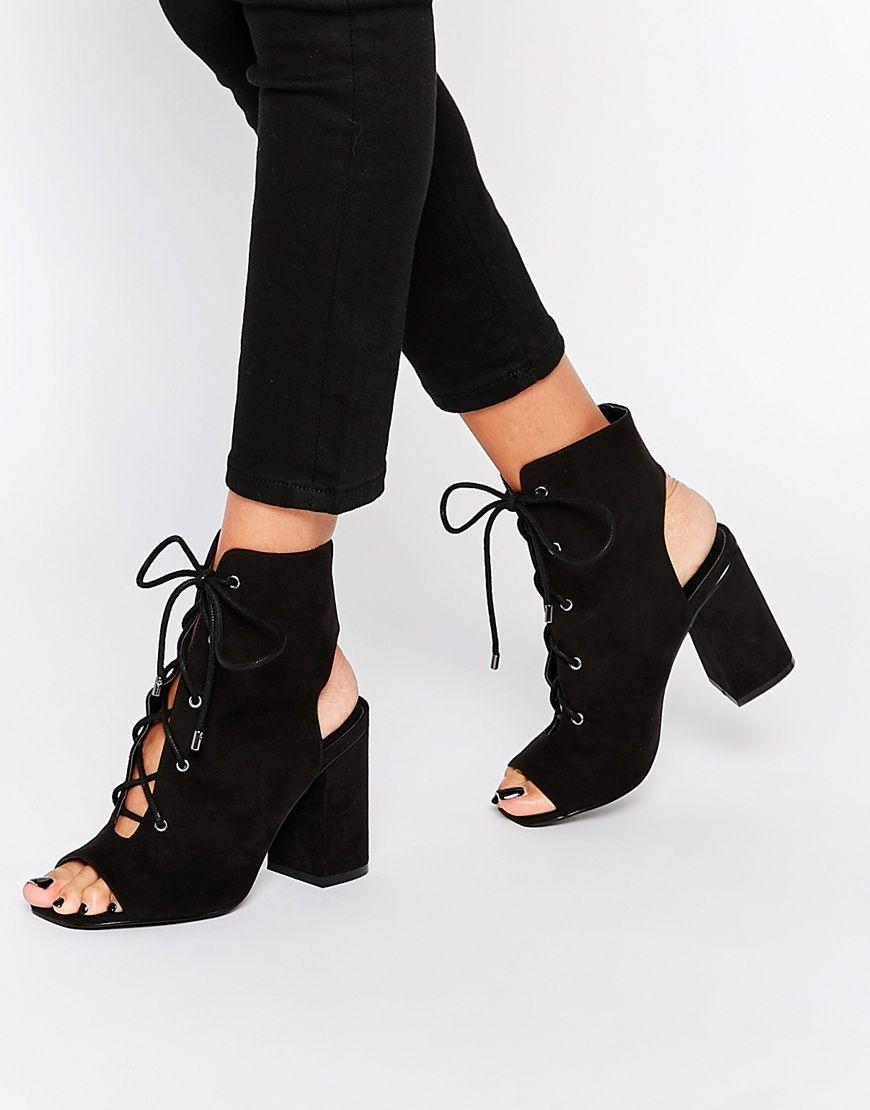 ASOS EDGECOMBE Lace Up Heel Boot at asos.com
