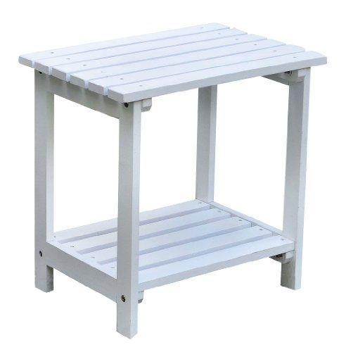 Shine Company Rectangular Side Table, Small, White Shine Company Inc. Small  Outdoor Side