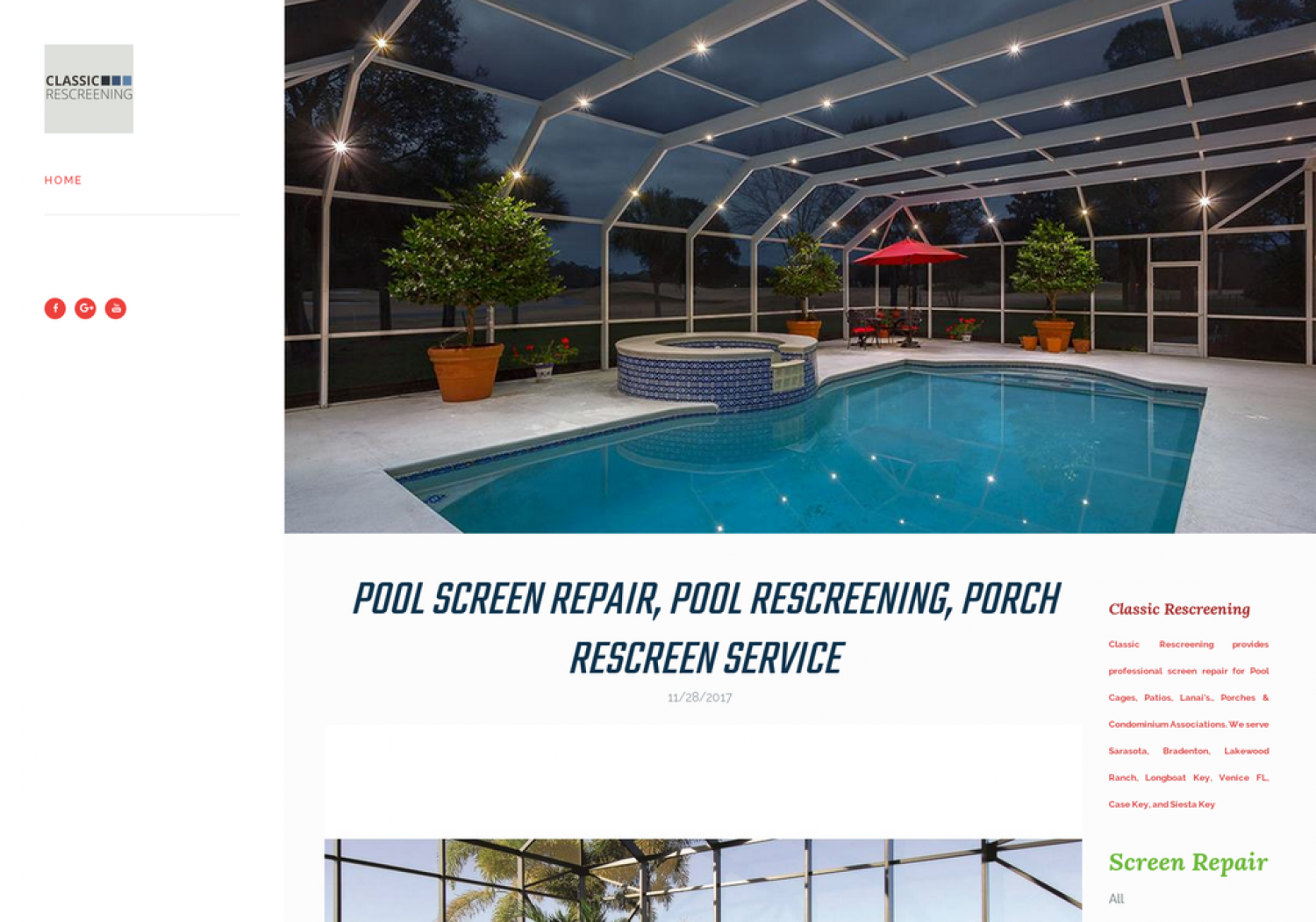 Pool Rescreening Cage Infographic