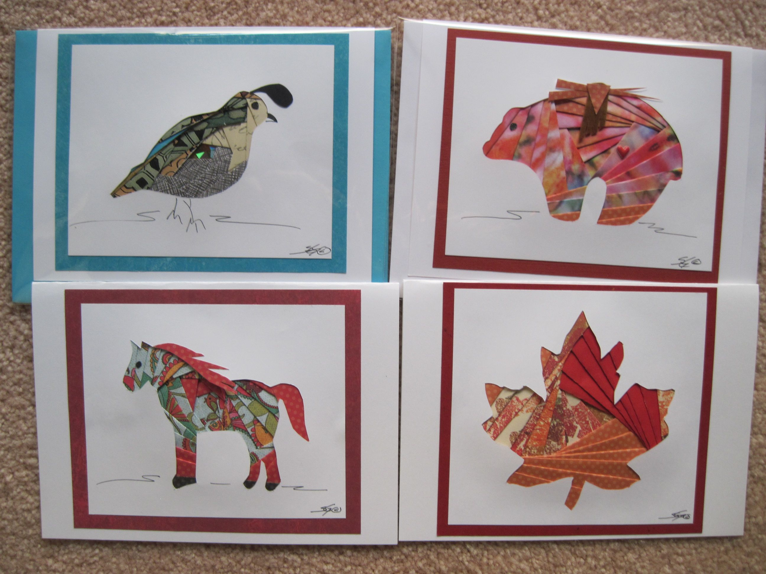 a variety of subject matter made into greeting cards
