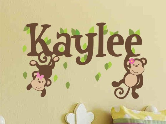 Monkey Name Decal Girl Name Decal Girl Name Wall Decal Baby Girl ...