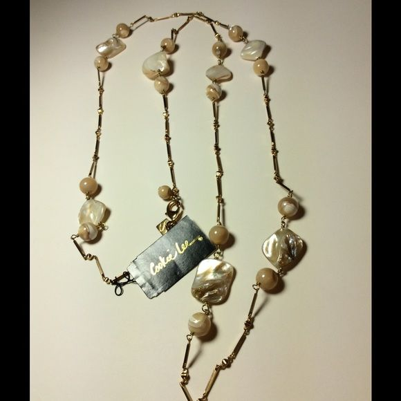 """Mother of pearl Cookie Lee Necklace Long Mother of Pearl Cookie Lee Necklace 40""""    5001 Cookie Lee Jewelry Necklaces"""