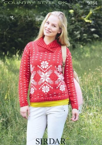 Sirdar Ladies Snowflake Christmas Sweater Dk Knitting Pattern 9754
