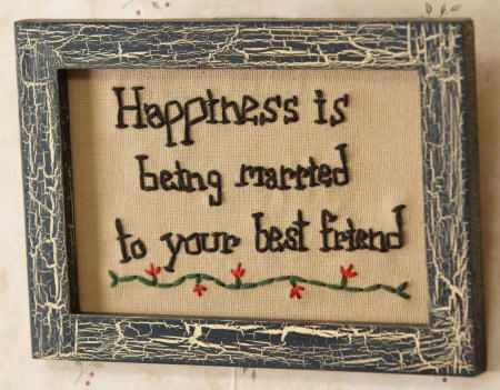 Country and primitive wall decor: \'Happiness is being married ...