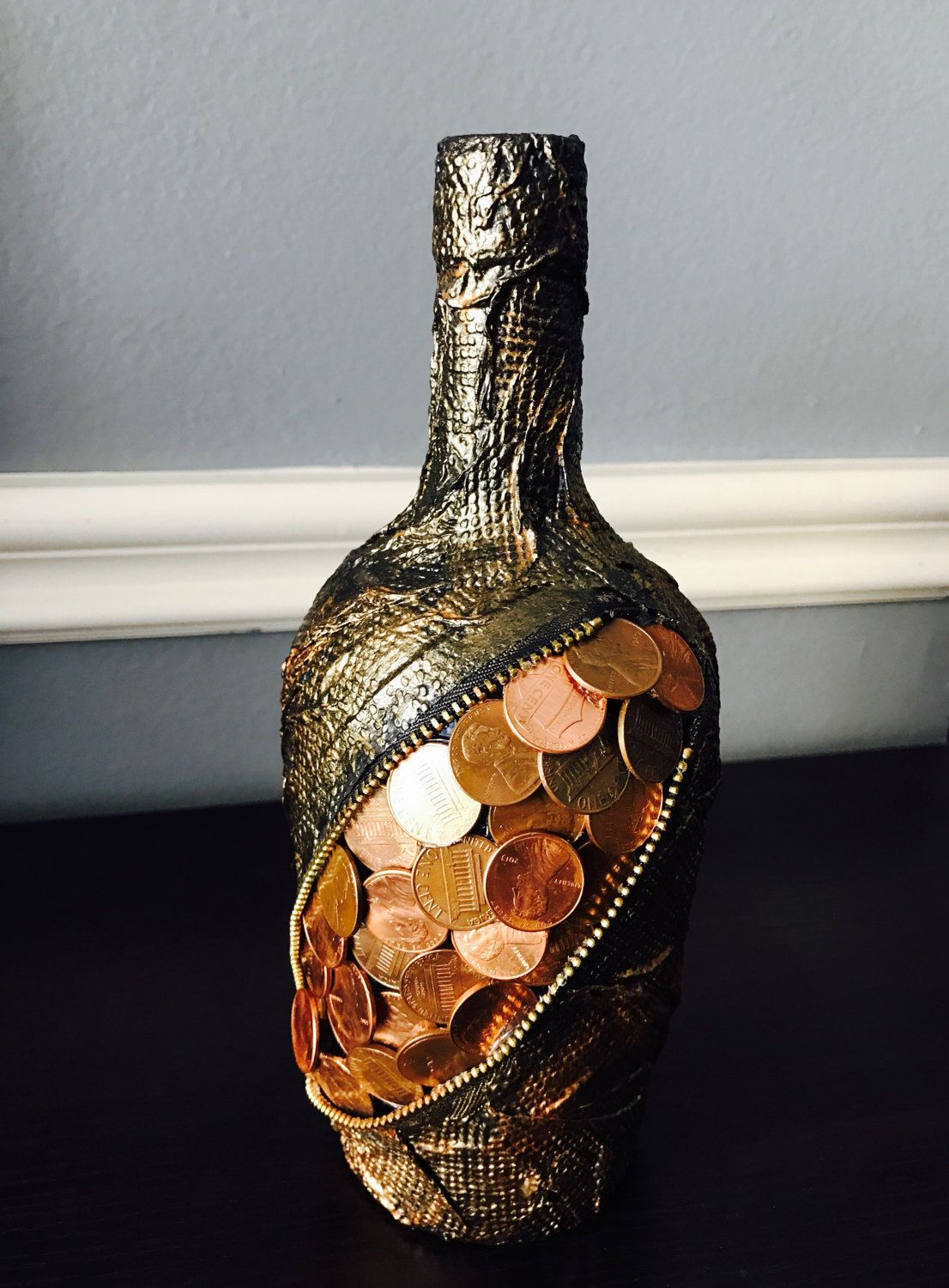 Wine Bottle Decor.Home Decor.Glass Bottle Art.Money Art ...