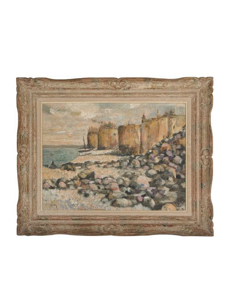 """ON SALE NOW! from @artsandhomes on The Highboy. """"Coastal Landscape"""" by Murray, Vintage Original Oil Painting on Board."""