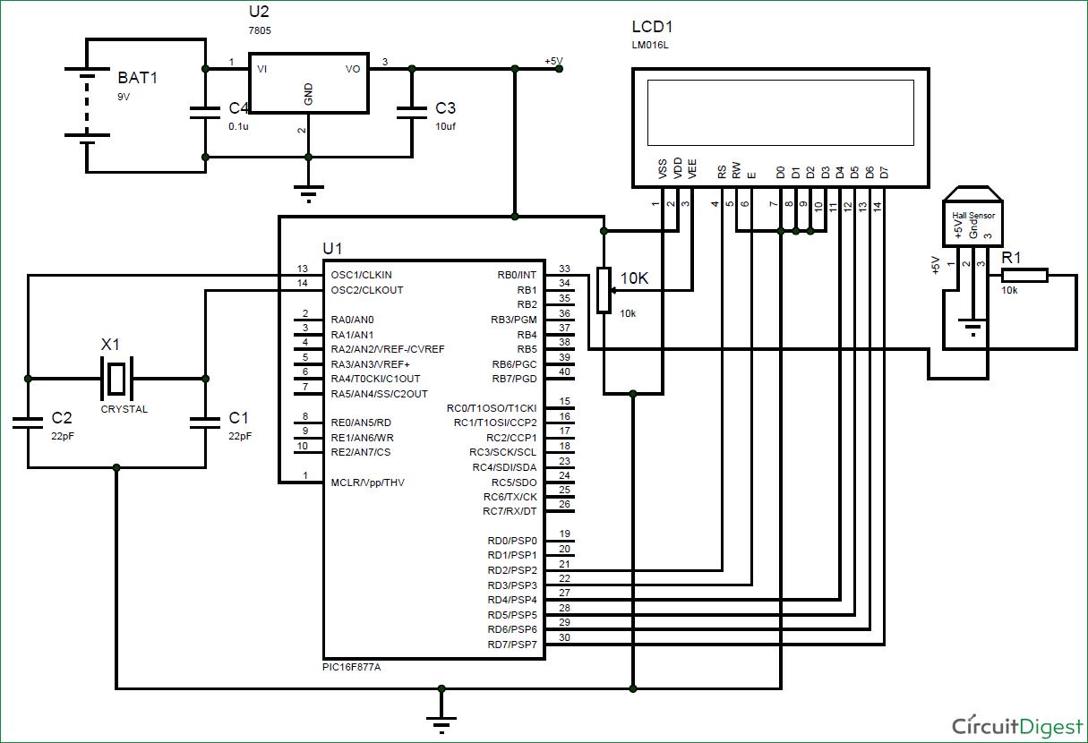 Speedometer And Odometer Using Pic Circuit Diagram