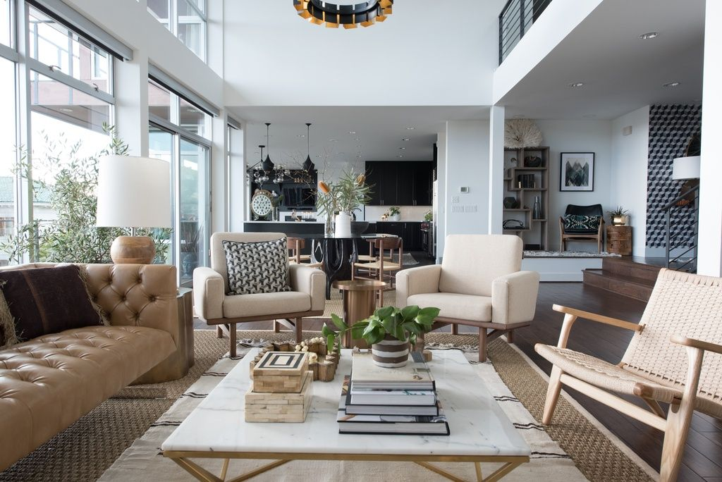 Great Modern Great Room With Balcony By Atg Stores Quality Living Room Furniture Furniture Design Living Room Home Decor #sunken #living #room #couch
